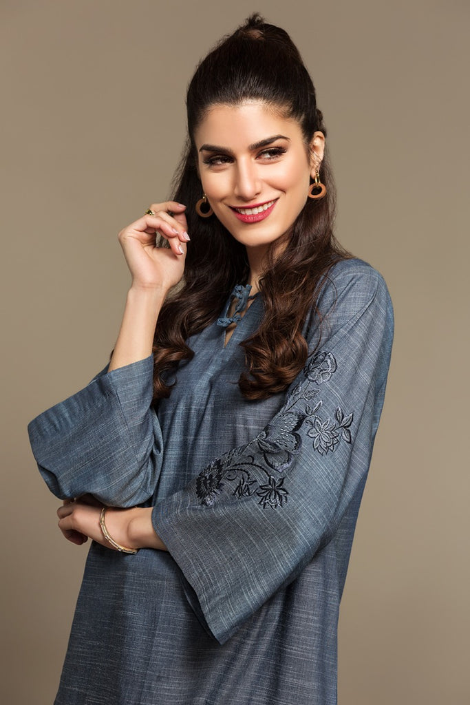 PS20-164 Embroidered Stitched Denim Shirt - 1PC