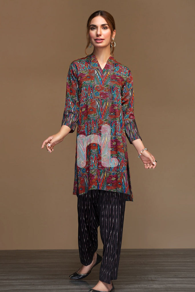 PW19-103 Red Printed Stitched Cotton Karandi Shirt & Printed Shalwar - 2PC