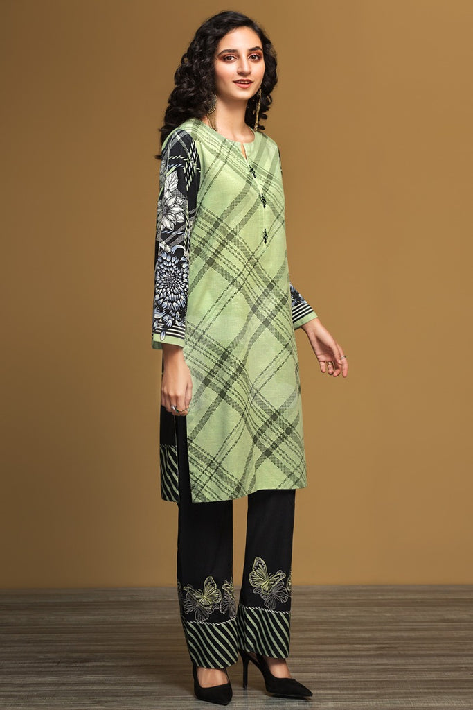 PW19-129 Green Printed Stitched Khaddar Shirt & Embroidered Trouser - 2PC