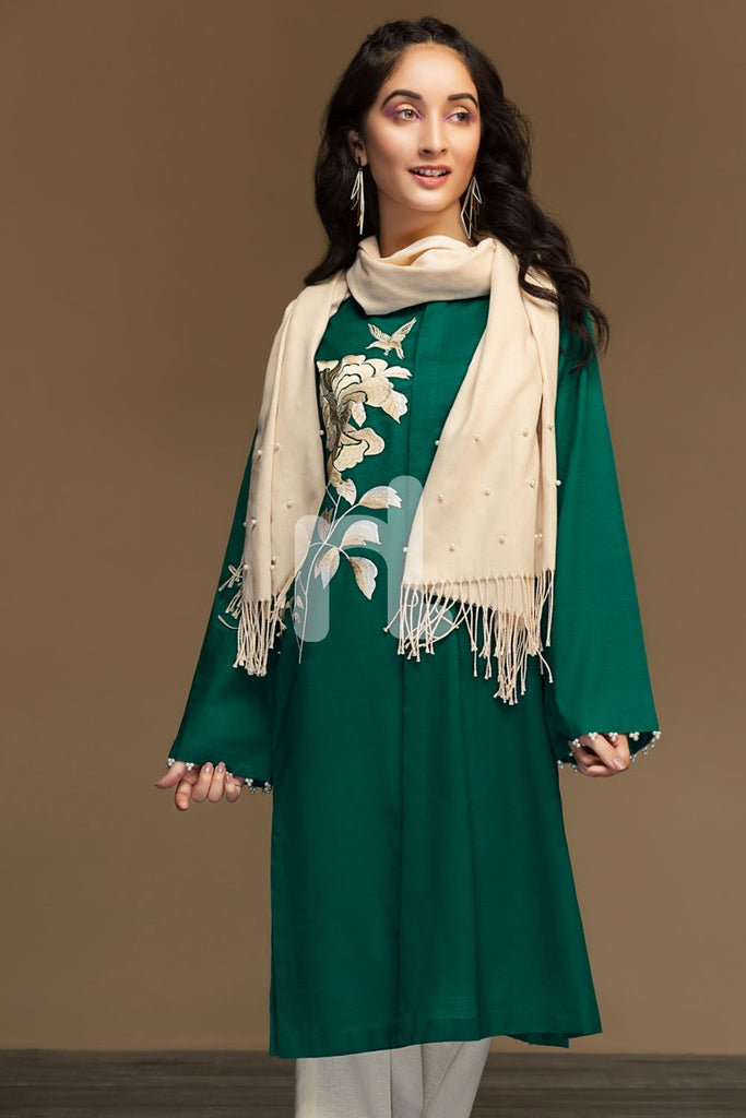 PW19-144 Green Dyed Embroidered Stitched Slub Lawn Shirt - 1PC