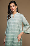 PW19-152 Grey Digital Printed Embroidered Stitched Cotton Karandi Shirt - 1PC