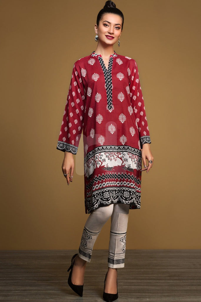 PW19-162 Red Digital Printed Stitched Linen Shirt - 1PC
