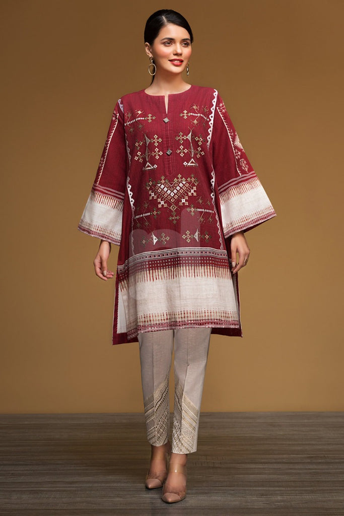 PW19-170 Red Digital Printed Embroidered Stitched Khaddar Shirt - 1PC