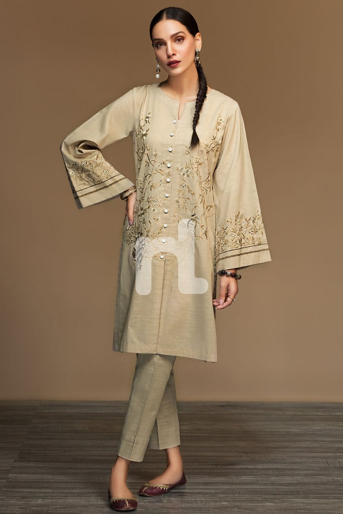 PW19-179 Gold Dyed Embroidered Stitched Slub Cotton Shirt - 1PC