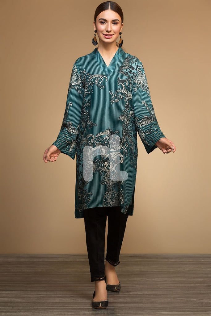 PW19-17 Green Digital Printed Stitched Linen Shirt - 1PC