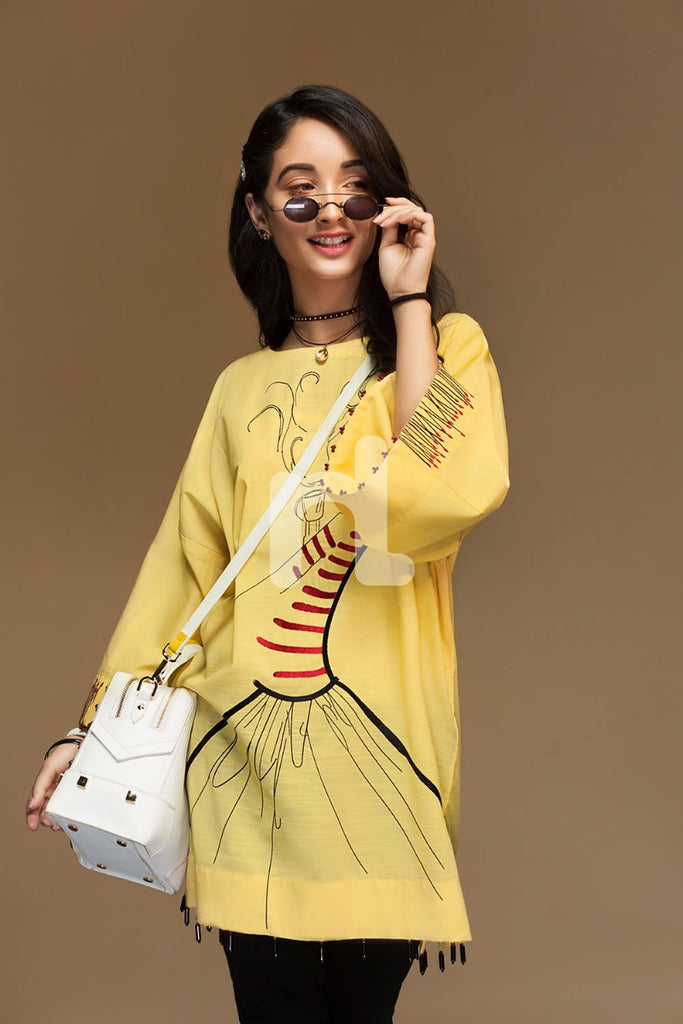 PW19-200 Yellow Dyed Embroidered Stitched Slub Lawn Shirt - 1PC