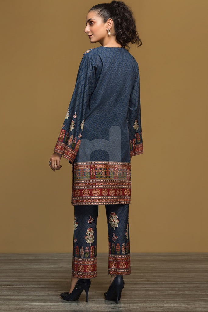 PW19-221 Blue Printed Stitched Karandi Shirt & Printed Trouser - 2PC