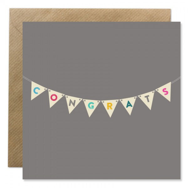 Bold Bunny Card - congratulations bunting
