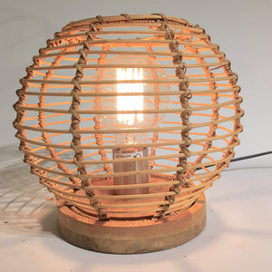 Brasil Sphere Lamp Rattan Glass Iron