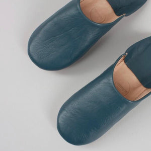 Moroccan Babouche Basic Slipper Blue Grey