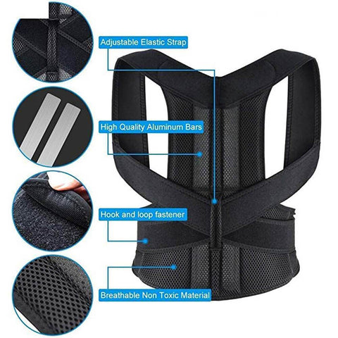 Body Posture corrector for Back, Neck Shoulder Straightener Belt - Ampm.pk