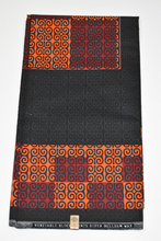 Load image into Gallery viewer, Black and Peach/Wine Ankara Print - 6 Yards