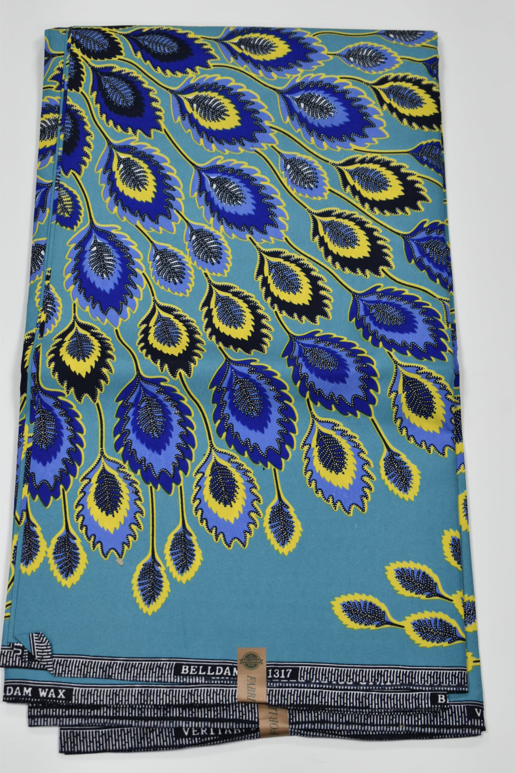 Turquoise Blue and Yellow Ankara Print - 6 Yards