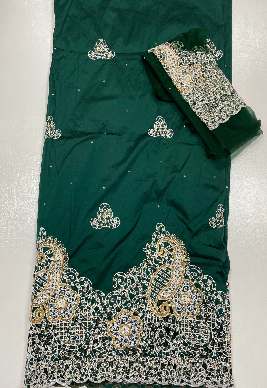 Emerald Green George with Blouse Fabric