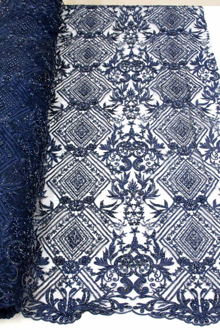 Navy Blue Bridal Beaded Lace - 5 Yards