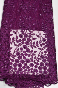 Aubergine Purple French Lace - 5 Yards