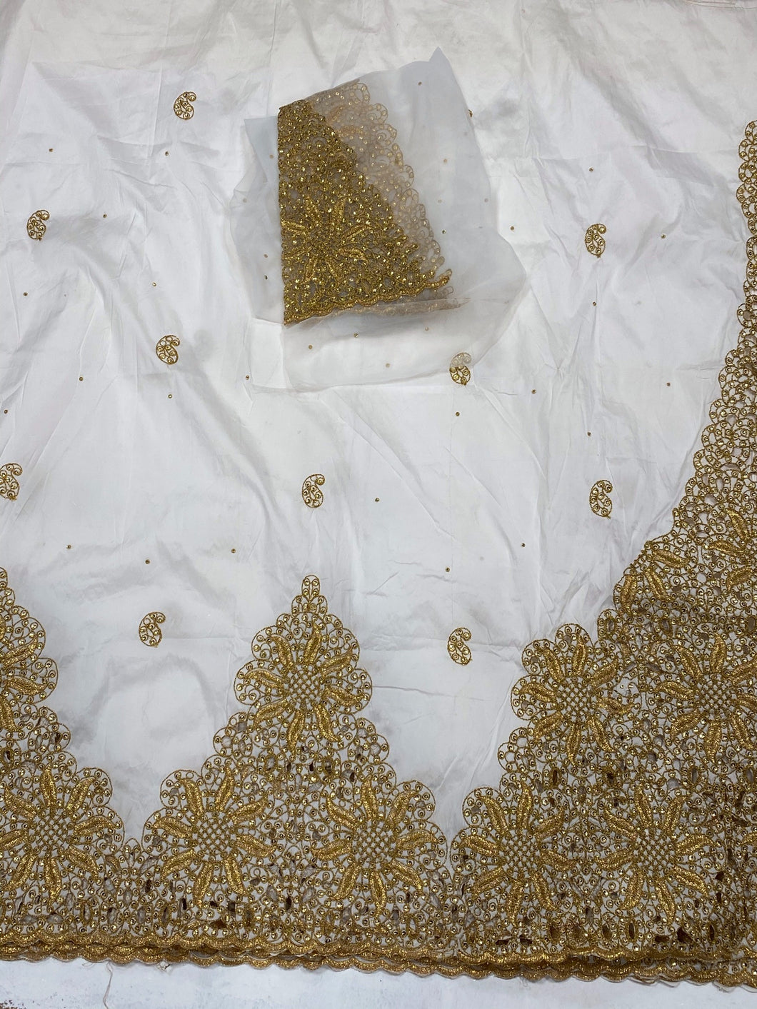 White and Gold George with Blouse Fabric