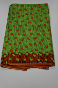 Green and Orange Fancy Ankara - 6 Yards
