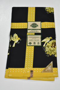 Yellow and Black Ankara Print -  6 Yards