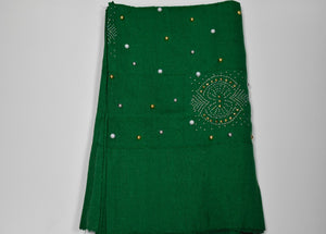 Nigerian Green Beaded Aso Oke