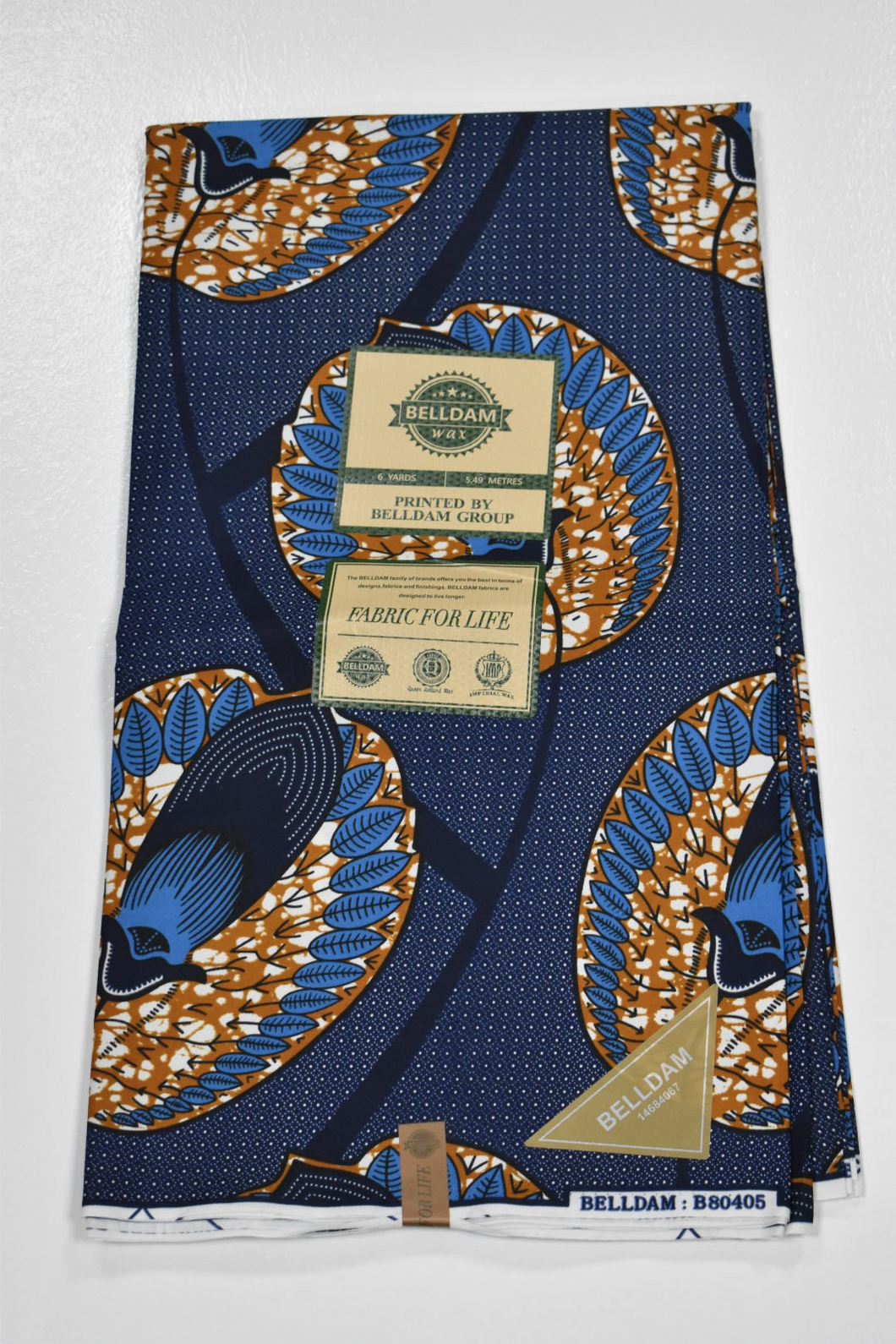Royal Blue and Orange Ankara Print - 6 Yards
