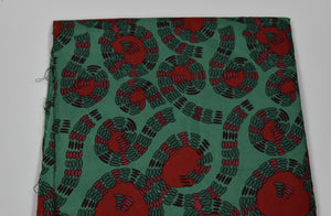 Green and Red Fancy Ankara - 6 Yards