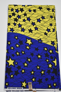 Blue and Yellow Ankara Print - 6 Yards