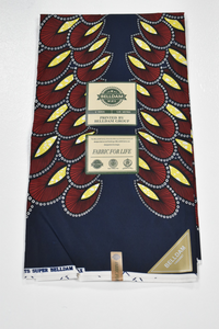 Wine, Yellow and Navy Blue Ankara Print - 6 Yards