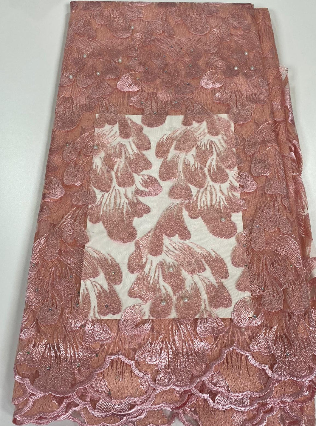Peach French Lace - 5 Yards