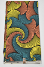 Load image into Gallery viewer, Teal and Peach and Yellow Ankara Print - 6 Yards