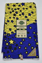 Load image into Gallery viewer, Blue and Yellow Ankara Print - 6 Yards