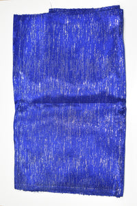 Royal Blue and Silver Plain Aso Oke (One Piece)