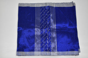 Royal Blue and Silver Plain Aso Oke