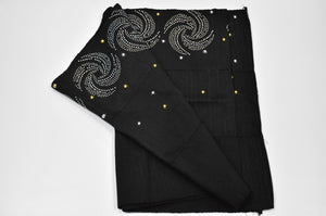 Black with Gold and Silver Stones Aso Oke