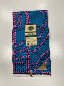 Blue and Pink Ankara Print - 6 Yards
