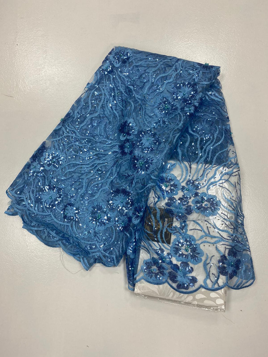 Light Blue French Lace - 5 Yards