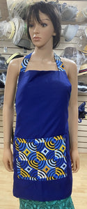 Blue with Yellow and White Ankara Print Apron