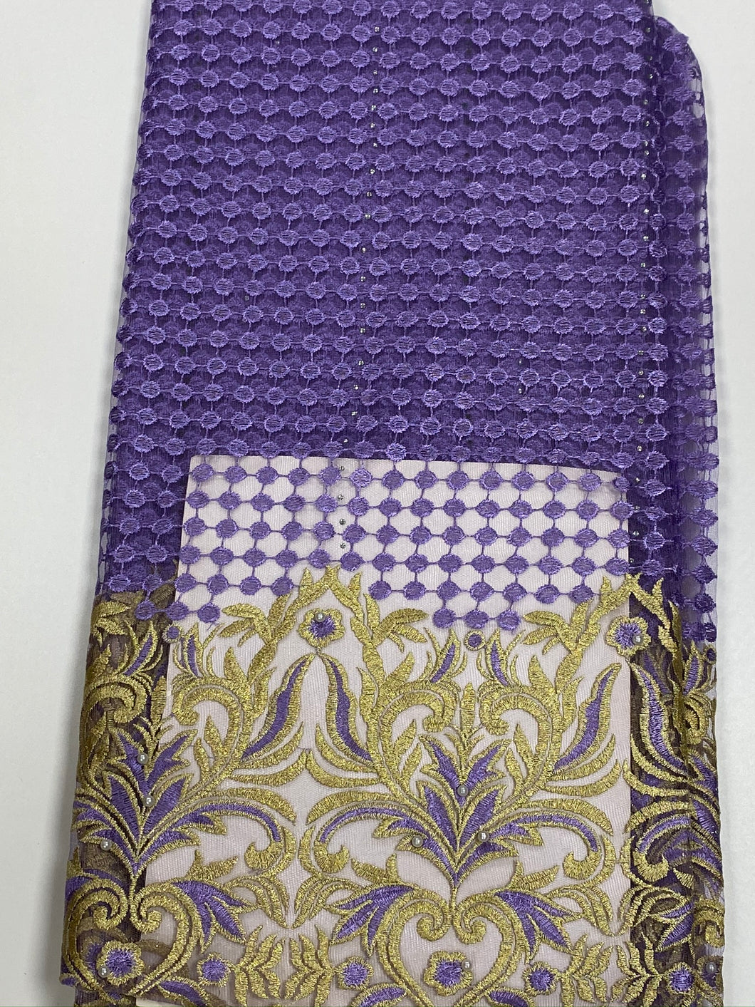 Lilac and Gold French Lace - 5 Yards