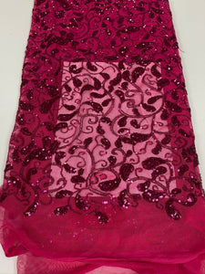 Sequinned Fuchsia Pink French Lace - 5 Yards