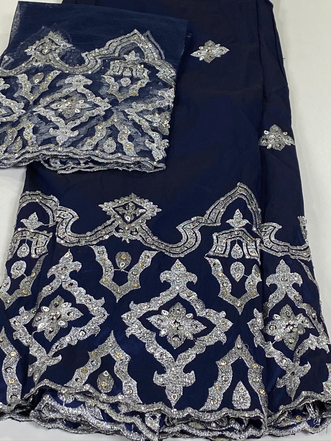 Navy Blue / Silver Stones with Blouse Fabric