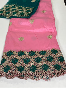 Pink and Green George with Blouse Fabric