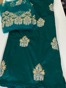 Teal Green / Pearls George with Blouse Fabric