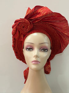 Red and Gold Auto Gele