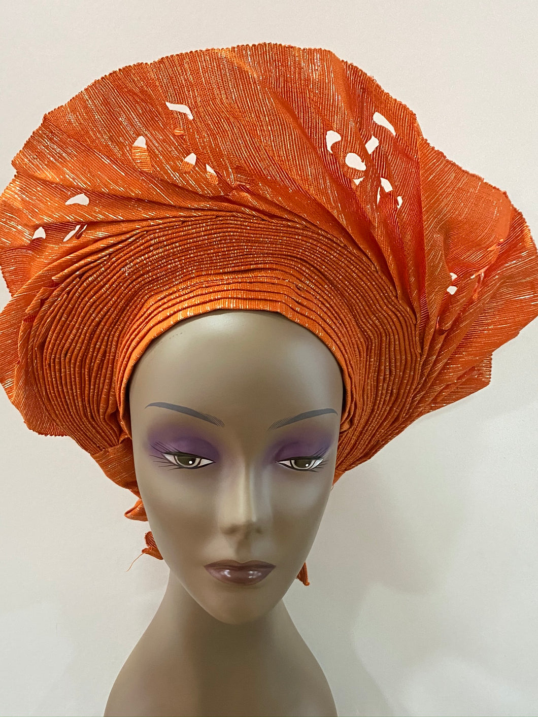Orange Laser Cut Auto Gele