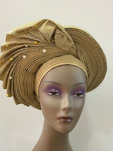 Champagne Gold Beaded Auto Gele