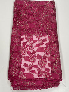 Fuchsia Pink French Lace - 5 Yards
