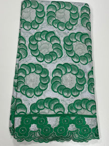 Green and White Lace - 5 Yards