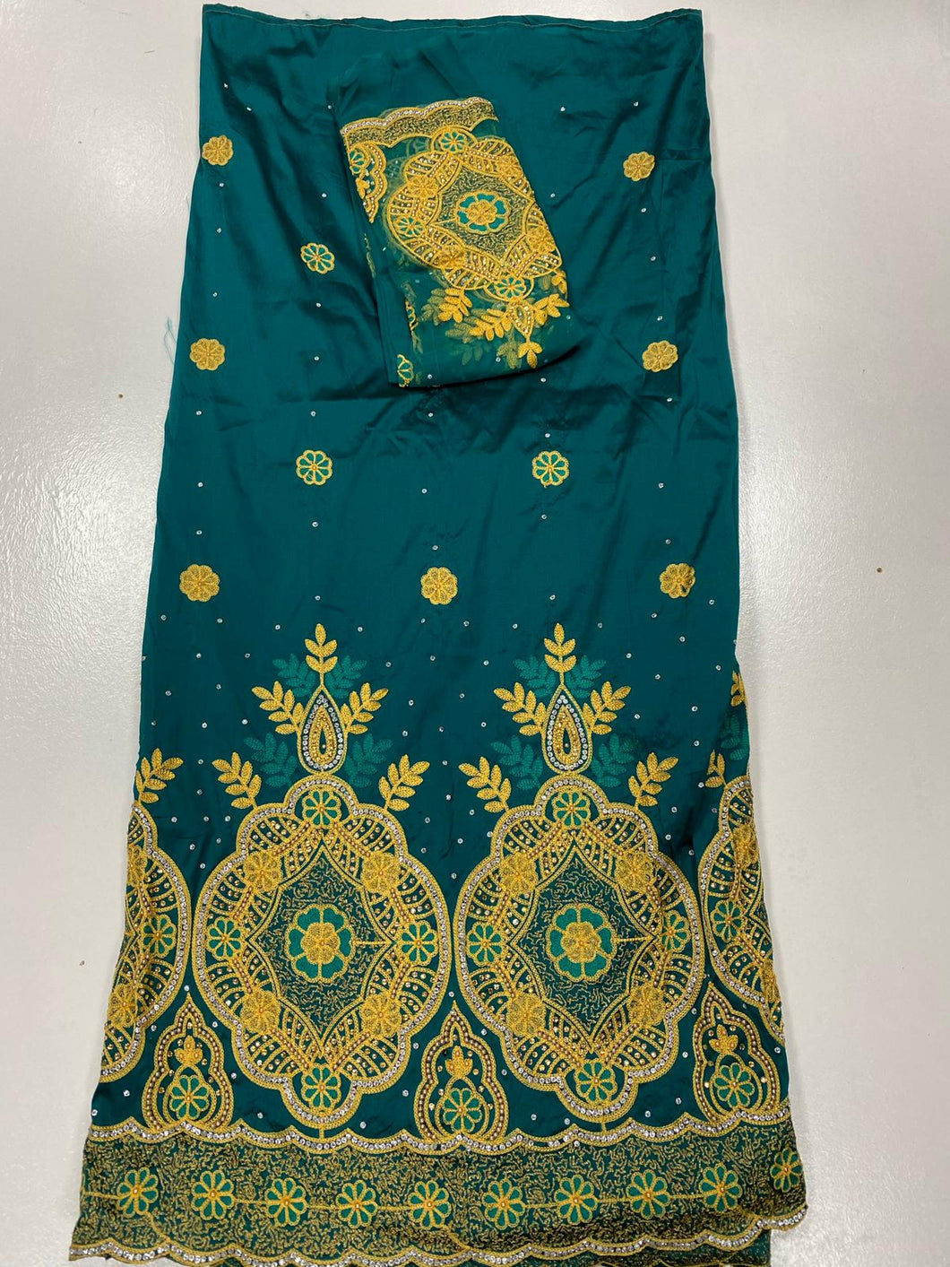 Teal Green George with Blouse Fabric