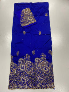 Royal Blue with Gold George with Blouse Fabric