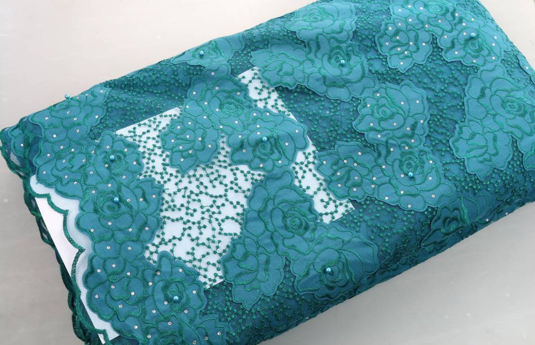 Teal Green French Lace - 5 Yards
